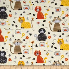 Cats Cream from @fabricdotcom  Designed for Timeless Treasures, this cotton print fabric is perfect for quilting, apparel, crafts, and home decor items. Colors include cream, orange, yellow, tan, grey, and brown.