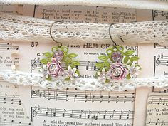 spring assemblage earrings pink enamel flower by lilyofthevally