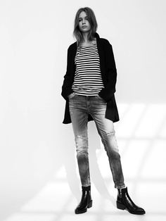 Laid-Back Cool In A Striped Tee And Jeans