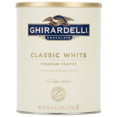 This Ghirardelli 3.12 lb. white chocolate frappe mix makes the perfect base for blending up indulgent frappes at your coffee shop! The convenient mix dissolves in either water or milk, or it can easily be blended with coffee or espresso to make tempting and profitable beverages. Whether you're crafting iced mochas or traditional frappes, customers will love the sweet and smooth white chocolate flavor. Since the mix itself does not contain coffee, it can even be used for kid-friendly milk...