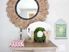 """Simple cardboard letters decorated with washi tape and boxwood wreath """"o"""" #easyholidayideas"""