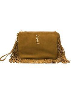 SAINT LAURENT 'Monogram' Shoulder Bag. #saintlaurent #bags #shoulder bags #hand bags #lining #leather #cotton