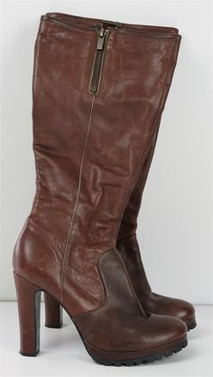 Dolce Vita 9 M Brown Leather Womens Zip Boots Knee High Heels Shoes #DolceVita #KneeHighBoots #Casual