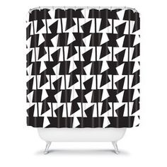 Karen Harris Bravo Black And White Shower Curtain