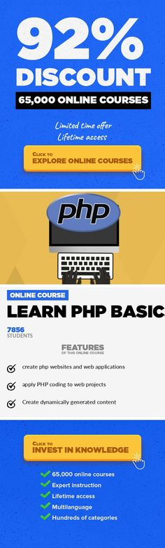 Learn PHP Basics Programming Languages, Development  Guide to learning the core concept of PHP coding, covering fundamental PHP coding syntax and how to use it Learn PHP, this course covers core functionally of PHP code.  Learn the basics of using PHP code to create web applications. From an instructor with over 15 years of PHP application development experience, let us introduce you to using PHP....