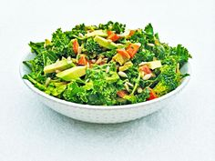 Cleansing Kale Salad  4-5 kale 2 cups spinach 1/4 cup finely chopped onion 1/2 red pepper 1 cup broccoli florets 1/2 avocado 1 tblsp sunflower seeds  Sesame Soy Dressing 1/2 tblsp cashew butter 1/2 tblsp olive oil 1/2 tblsp liquid aminos scant tsp sesame oil 2-3 cloves garlic 1 tblsp nutritional yeast juice of half lemon 1/2 tsp himalayan salt 1/2 tsp turmeric  1/2 teaspoon cayenne pepper