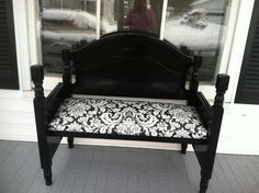 Bench made from an old bed frame!!
