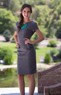 Modest Dresses: Audrey Peplum in Gray