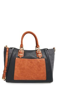 Free shipping and returns on Sole Society 'Jensen' Mixed Media Tote at Nordstrom.com. A smart mix of textures and neutral hues makes this super-roomy tote a stylish choice for every day. Rolled top handles, an optional strap and brushed goldtone hardware complete the versatile look.