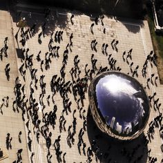Cloudgate .... the Chicago bean with a bird's eye view. ♥ Repinned by Annie @ www.perfectpostage.com