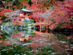 The Daigoji temple in Kyoto, a temple of the Shingon sect of Japanese Buddhism, is a designated world heritage site and a favorite destination to visit in the autumn when the leaves offer an array of vibrant colors.