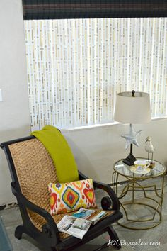 Have you ever thought to stencil your vertical blinds?? H2OBungalow loves how this simple project makes such a huge impact in her living room! Morse Code Stencil:  www.royaldesignstudio.com/collections/modern-stencils