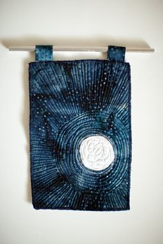 Moon - You will receive the art quilt shown in the photos. Comes with inch aluminum rod and small silver Visiting Nurse, Maiden Mother Crone, Winter Sky, Batik, Quilt Stitching, Quilted Wall Hangings, Mini Quilts, Moon Child, Art