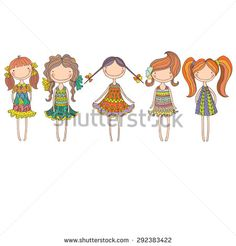 background with the image of well-dressed girls - stock vector