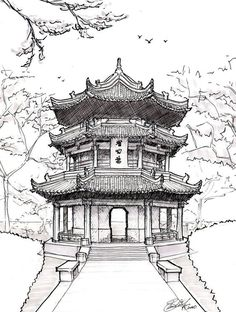 Chinese Architecture Drawing Pagoda drawing chinese pagoda by ~asuka47 on deviantart ...