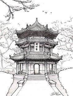 Chinese Architecture Drawing Pagoda drawing chinese pagoda by ~asuka47 on deviantart ...
