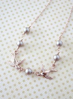 Rose Gold Love Birds and Pearls necklace