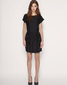 Reiss Sequin Black Dress