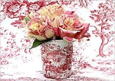Toile cup and beautiful red and white roses.  From Hydrangea Hill Cottage blog.