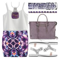 """""""lucid mini"""" by foundlostme ❤ liked on Polyvore featuring Rebecca Minkoff, Chicwish, Natures Jewelry, Philip Stein, Kevin Jewelers, purple and MINISKIRT"""