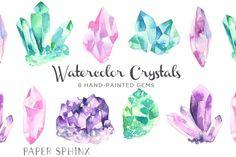 Watercolor Gems & Minerals Set