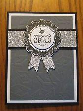 Graduation Handmade Card: Congratulations Grad Glitter Black Grey Stampin Up