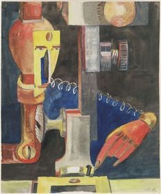 Study for Man and Machine  Hannah Höch (German, 1889–1978)    1921. Watercolor and pencil on paper