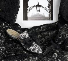 """""""Un Vol de Dentelle"""" - black lace on ivory satin, voile black bow http://store.leschaussonsdelabelle.com"""