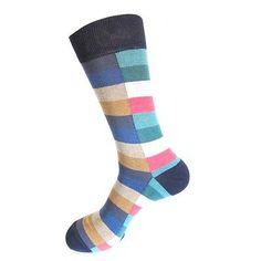 Lot 5 100 Cotton Men Houndstooth Striped Design Fashion Dress Crew Casual Socks   eBay