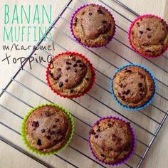 bananmuffins med karameltopping (mejeri-, gluten- og sukkerfri)