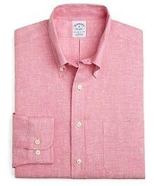 Irish Linen Slim Fit Solid Sport Shirt by Brooks Brothers