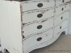 Another gorgeous @Mustard Seed milk paint makeover by @Danielle Driscoll. The ironstone color is perfect for this dresser. {before & after}