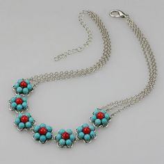 Turquoise+coral Necklace+flowers handmade by AniDesignsllc on Etsy,+$15.95