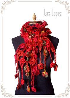 THE FLOWERY  handmade crochet scarf lariat cover by laslopezlas
