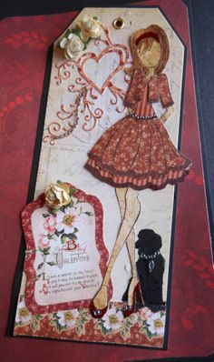 """Prima Doll """"Be Mine"""" #LLCWRose Another Simple Pleasure's Scrapbook Store Paper Doll Club doll. Visit Simple Pleasures Rubber Stamps Scrapbooking at https://www.facebook.com/simplestampnscrap for more ideas and fun!!"""
