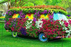 Flowered VW--Flower power of the on this type of van would have fit right in!