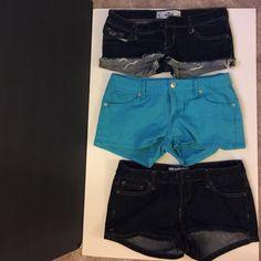 3 Booty shorts! 1. Hollister size 0; 2. Jalate size 5; 3. Aeropostale size 3/4. Shorts Jean Shorts