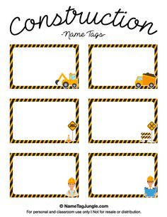 Free printable construction name tags. Construction Theme Classroom, Under Construction Theme, Construction Birthday Parties, Classroom Themes, Construction Business, Construction Design, Printable Name Tags, Free Printable, Name Tag Templates