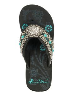 b941bd27467e88 Montana West Women s Turquoise with Cream Embroidered Strap with Round  Concho Wedge Flip Flops