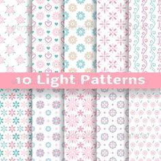 Light Floral Romantic Vector Seamless Patterns #GraphicRiver 10 Light floral romantic vector seamless patterns (tiling). Shabby chic pink and blue colors. Endless texture can be used for printing onto fabric and paper or scrap booking. Abstract flower wallpaper .fontsquirrel /fonts/PT-Sans Created: 29 November 13 Gra