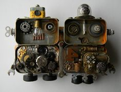 """Mr. & Mrs. Shorty Bot"" -Recycled art assemblage    www.etsy.com/shop/redhardwick"