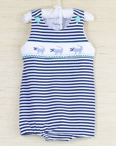 e55f10f35 This cute bubble has White and Navy small horizontal stripes with a smocked  chest showing Blue