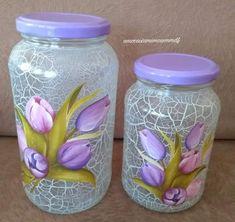 The world's catalog of creative ideas Recycled Glass Bottles, Glass Bottle Crafts, Diy Bottle, Bottle Art, Mason Jar Crafts, Mason Jar Diy, Diy Decoupage Jar, Jar Art, Jar Centerpieces