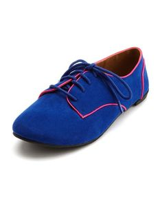 Sueded Pop Color Lace-Up Oxford: Charlotte Russe, Love the bright color