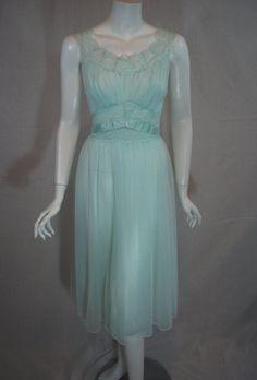 1950s Vanity Fair Mint Green Peignoir Set, 34, medium  - matching nightgown and peignoir robe