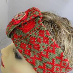 Knitted Fair Isle Headband - Red Autumn, Paradis Terrestre - Luxury British Made Accessories & Homeware Knitted Headband, Knitted Hats, Modern Hippie, Handmade Headbands, Unique Cards, Greeting Cards, British, Autumn, Retro