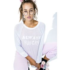 Wildfox Couture Always Hungry Rebel Raglan featuring polyvore 29c209e0aa5b