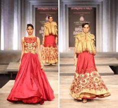India Bridal Fashion Week 2013 Shantanu Nikhil  red gold lengha gown