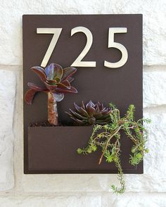 "12"" x 16"" Contemporary Brown Wall Plaque and Planter with (3) Brushed Aluminum Address Numbers"