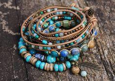 Set of 4 Boho Ocean Treasures Stack Bracelets